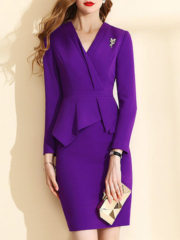 V Neck Purple  Date Asymmetric Work Solid Midi Dress