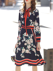 Tie-Neck Blue Long Sleeve A-Line Date Floral Midi Dress