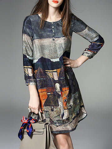 Gray Abstract Daytime Casual Printed Midi Dress