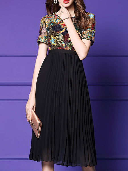 Crew Neck Elegant  A-Line Date Paneled Midi Dress