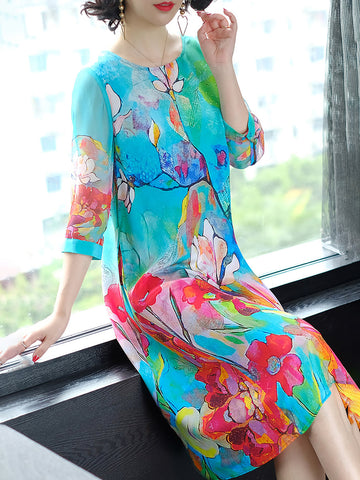 Blue Shift Daily Vintage 3/4 Sleeve Printed Floral Midi Dress