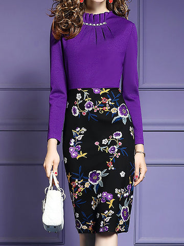 Purple Ruffled Ruched Long Sleeve Paneled Floral Printed Midi Dress