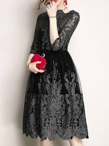 Stand Collar A-Line Black Cocktail Midi Dress
