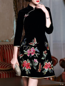 Stand Collar Black A-Line Embroidered Vintage Midi Dress