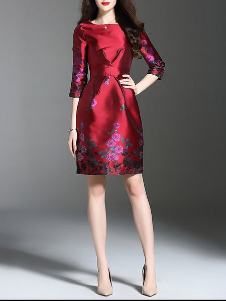 Red Elegant Floral Jacquard Sheath Party Midi Dress