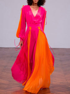Color-Block Pleated Elegant A-Line Evening Sexy Maxi Dress