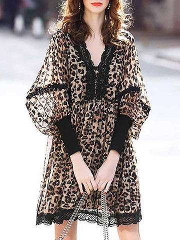 Brown V Neck A-Line Balloon Sleeve Leopard Print Mini Dress