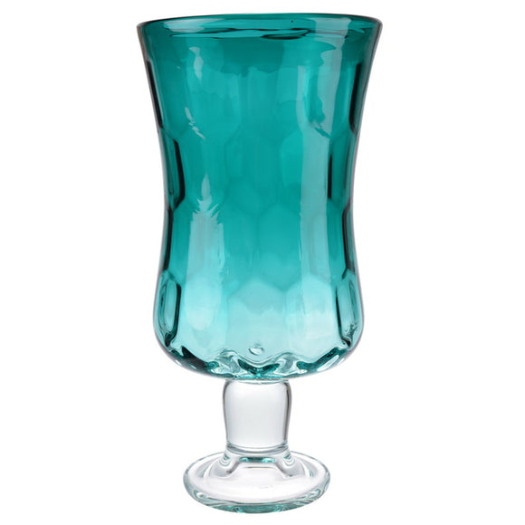 Aqua Footed Hurricane Vase - full view