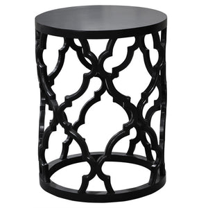 Mustique Side Table - Black Reclaimed Wood - HomeSimplicity