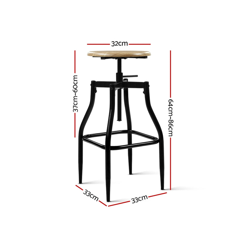 Industrial Bar Stool (Set of 2) measurements