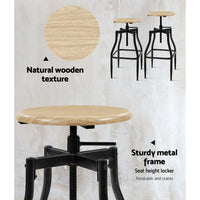 Industrial Bar Stool (Set of 2) wood seat & metal frame