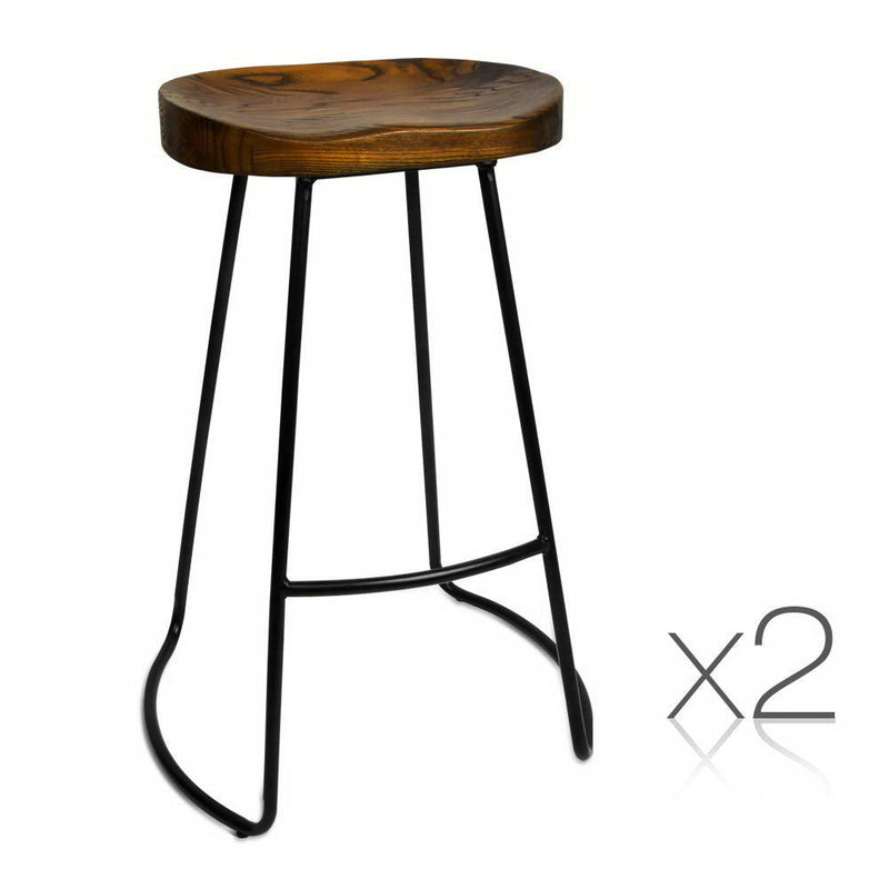 Thomas - Set of 2 Steel Barstools with Wooden Seat - HomeSimplicity