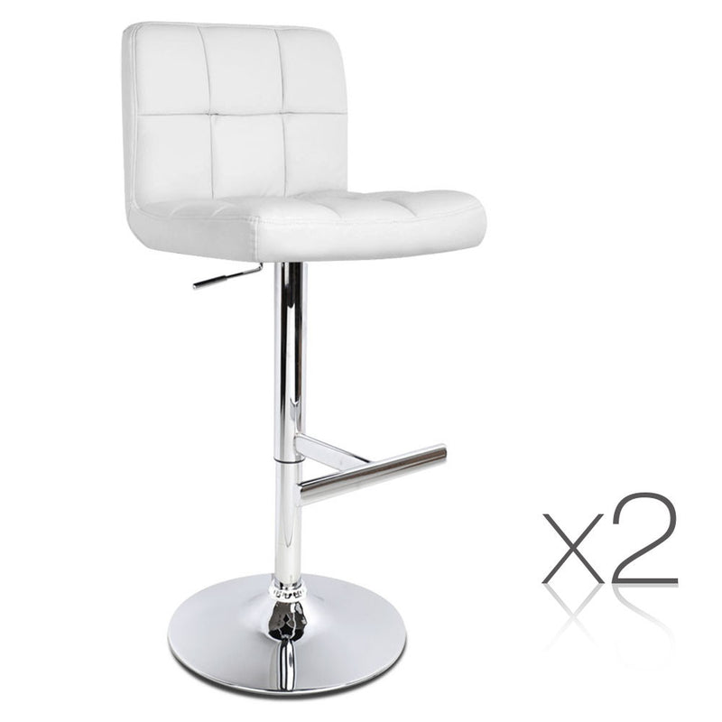 Melody - White PU Leather Kitchen Bar Stool (Set of 2) - HomeSimplicity