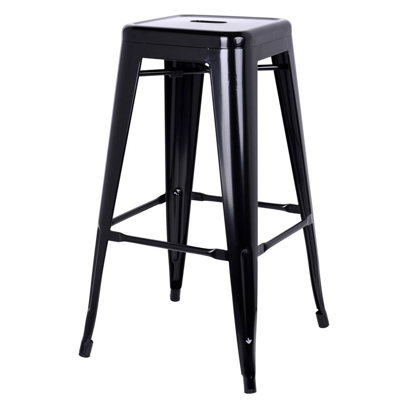 George - Black Steel Kitchen Bar Stools (Set of 2) - HomeSimplicity