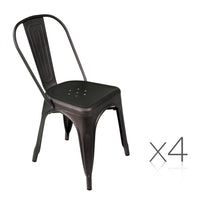 Metal Dining Chairs - Gunmetal x4 - HomeSimplicity
