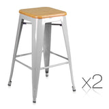 Larry - 66cm Steel Kitchen Bar Stools (Set of 2) - HomeSimplicity