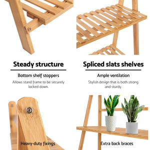 Bamboo Plant Ladder Shelf features
