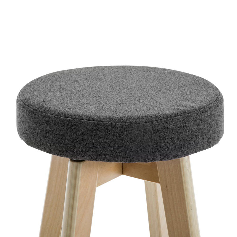 Pop Linen Fabric Round Bar Stool (Set of 2)