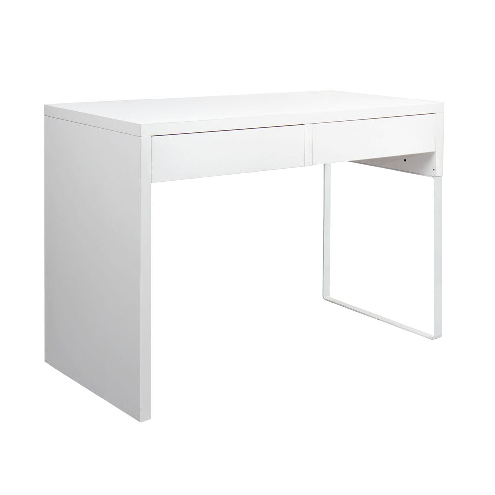 White Metal Desk with 2 Draws