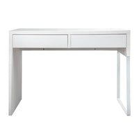 White Metal Desk with 2 Draws front view