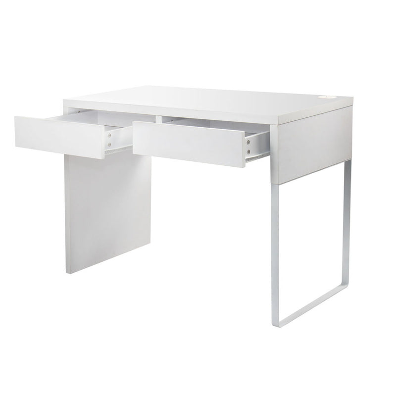 White Metal Desk with 2 Draws side open draws