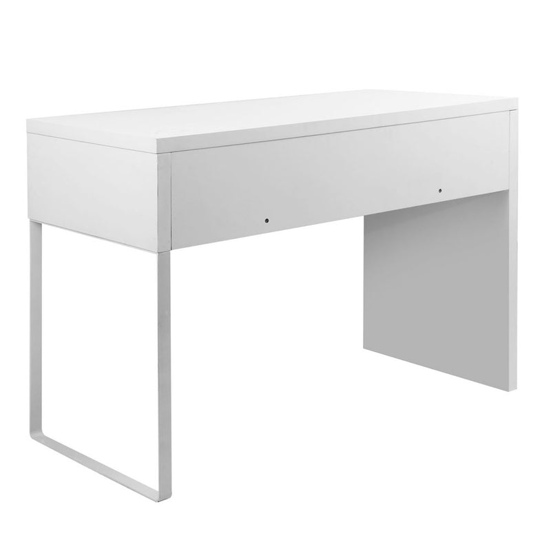 White Metal Desk with 2 Draws back view