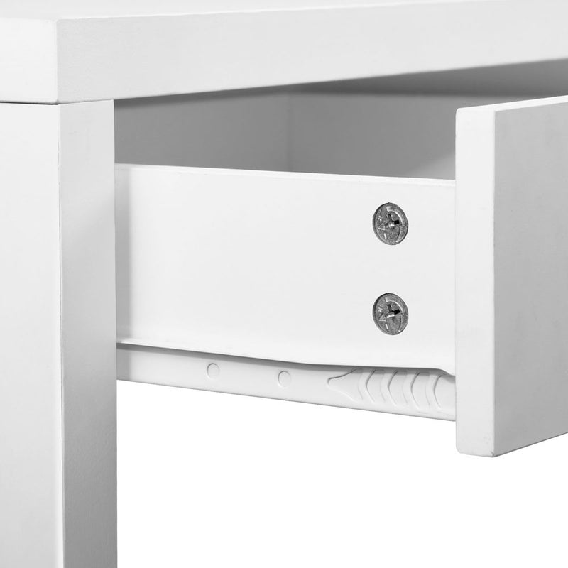White Metal Desk with 2 Draws close up draw