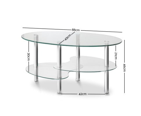 Amber 3 Tier Glass Coffee Table - measurements
