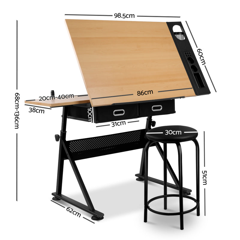 Drafting Desk & Stool Set measurements