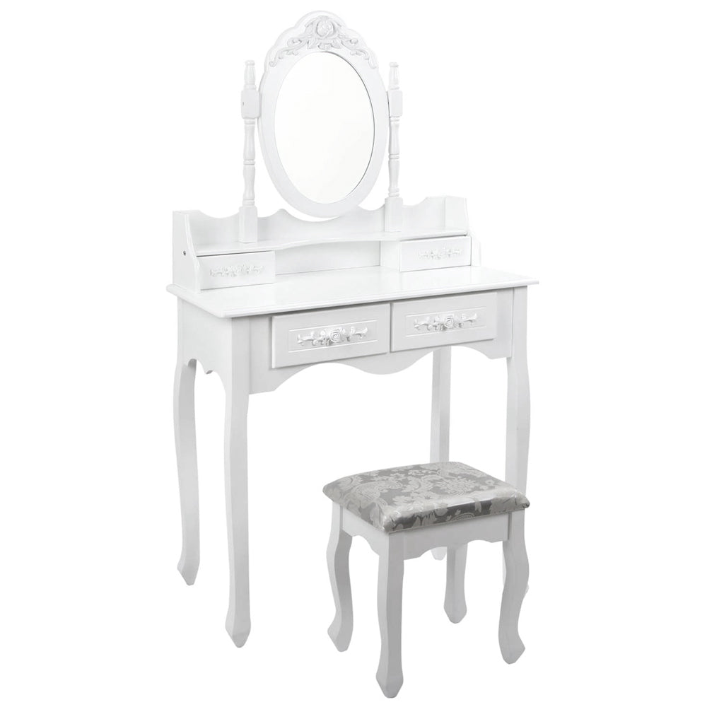 4 Drawer Dressing Table with Mirror & Stool - White full view