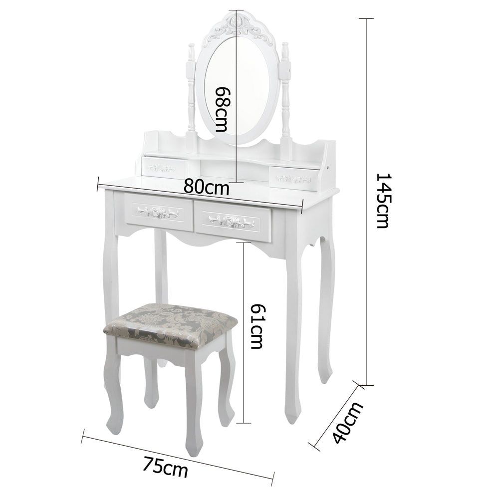 4 Drawer Dressing Table with Mirror & Stool - White measurements