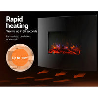 2000W Wall Mounted Electric Fireplace rapid heating