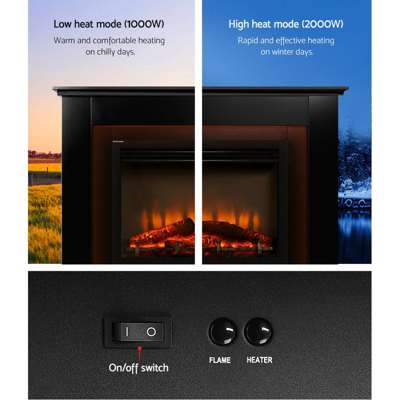 Portable 2000W Electric Fireplace Mantle low and high mode