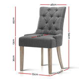 French Provincial Dining Chair - Grey measurements