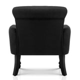 Wing Armchair French Provincial Linen Fabric - Black - HomeSimplicity