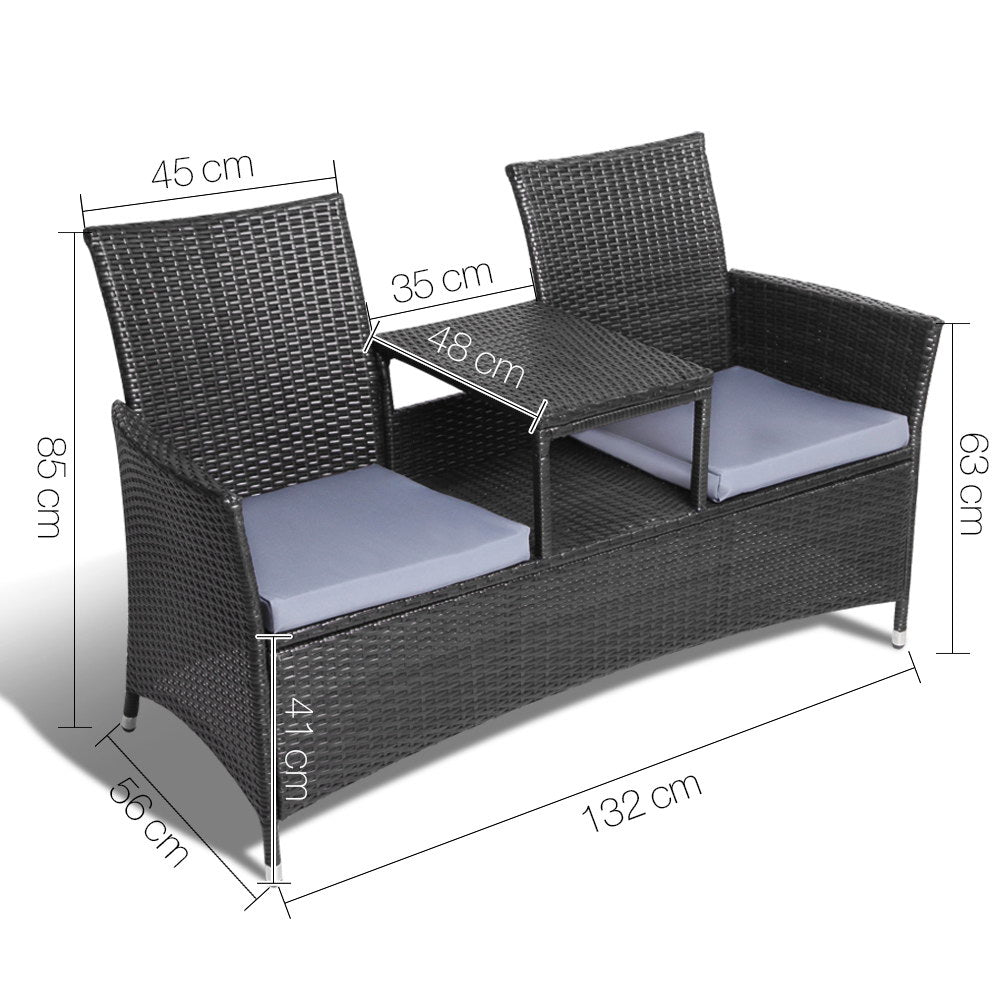 2 Seater Outdoor Wicker Bench
