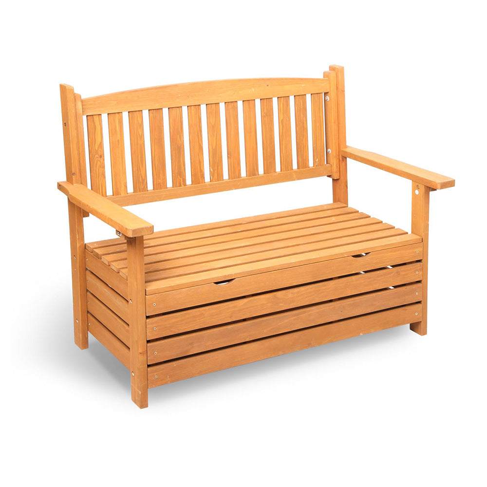 2 Seat Wooden Outdoor Storage Bench