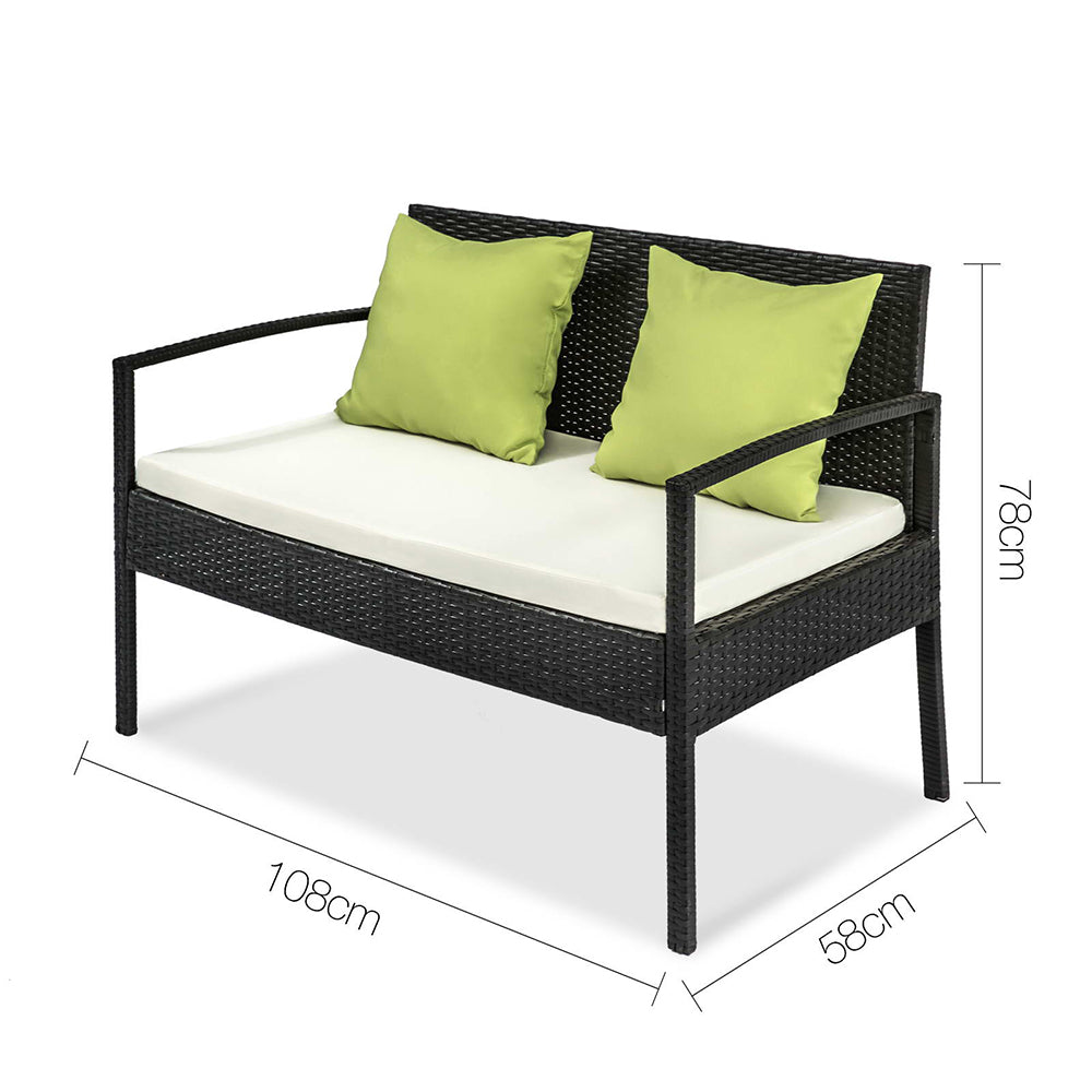 4 Piece Outdoor Wicker Furniture Set
