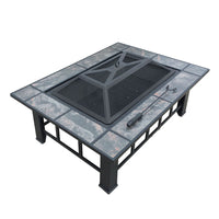 Outdoor Fire Pit BBQ Table Grill Fireplace w/ Ice Tray - HomeSimplicity