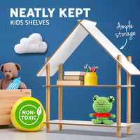 Kids 2 Tier Cabin Display Shelf display picture one