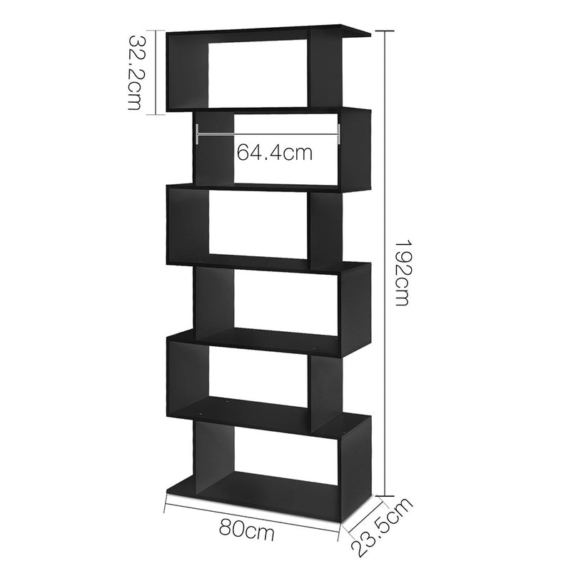 6 Tier Jagged Shelf - Black measurements