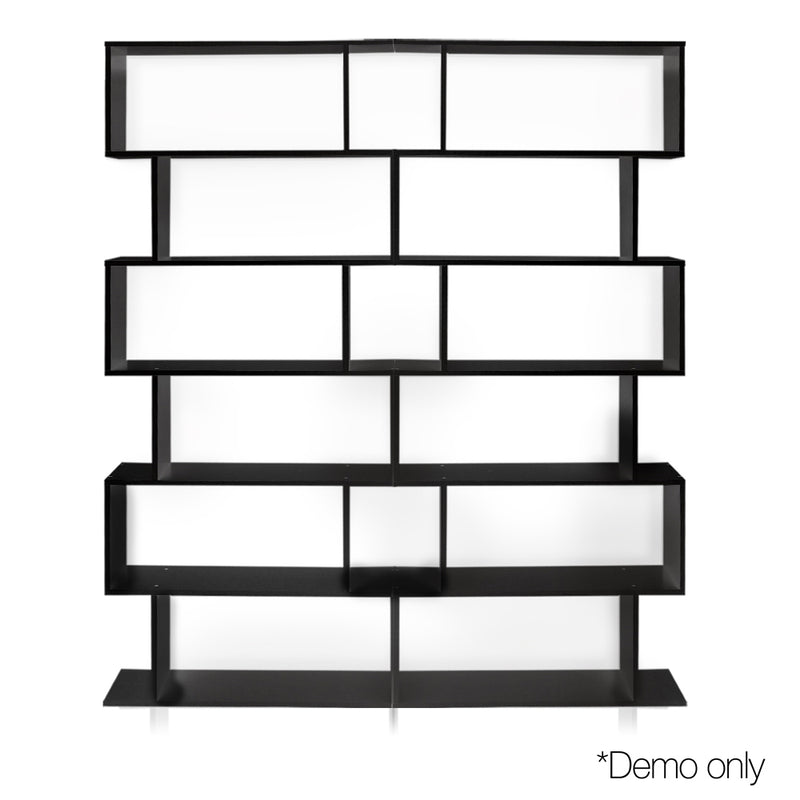 6 Tier Jagged Shelf - Black doubled shelf - demo picture