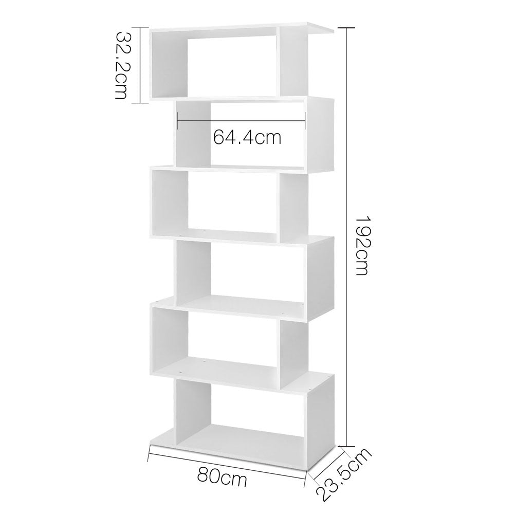 6 Tier Jagged Shelf - White measurements