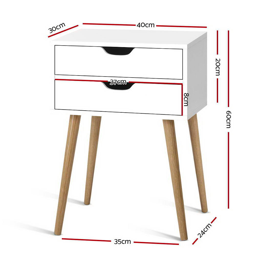Artiss Bedside Tables Drawers Side Table Nightstand Wood Storage Cabinet White