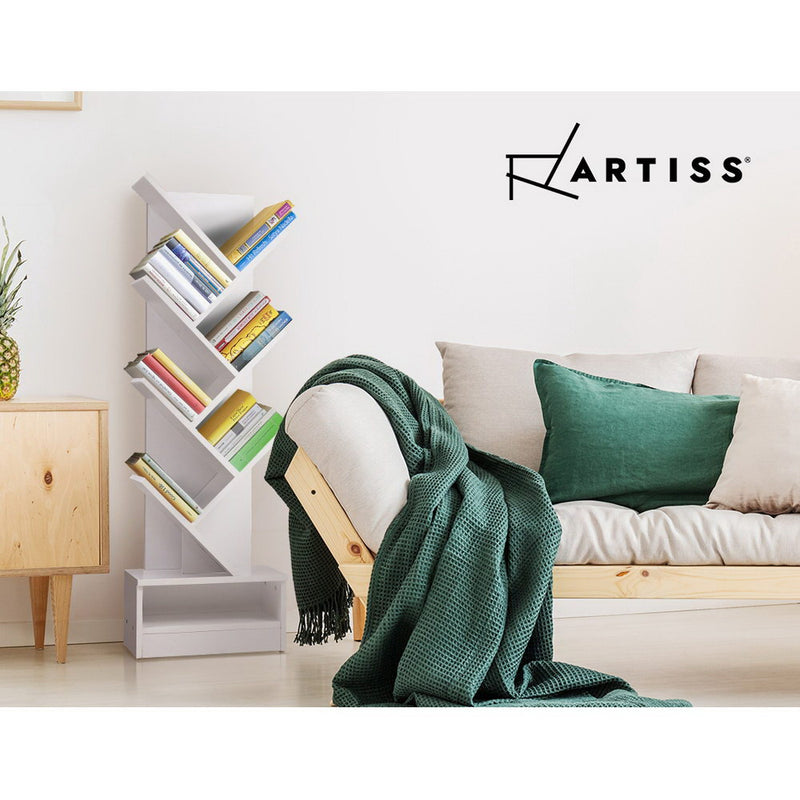 Artiss Display Shelf 7-Shelf Tree Bookshelf Book Storage Rack Bookcase White