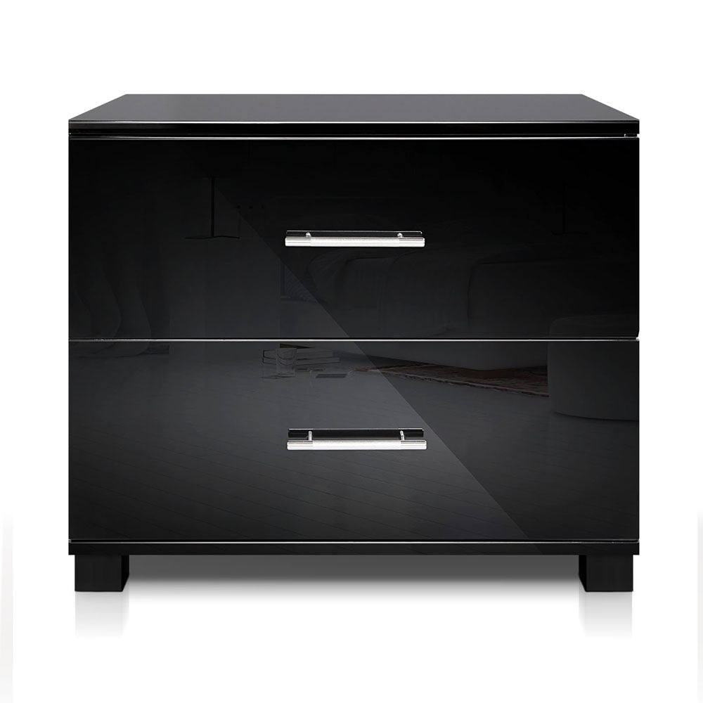 High Gloss Two Drawer Bedside Table Black - HomeSimplicity