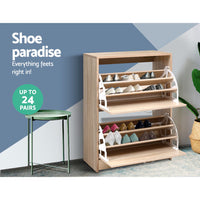Artiss Shoe Cabinet Shoes Storage Rack 24 Pairs Organiser Shelf Cupboard Oak
