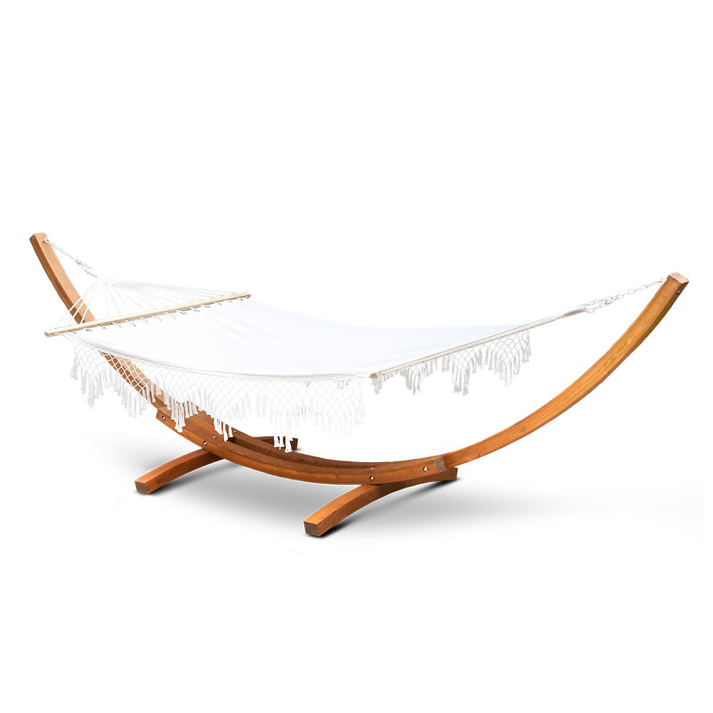 Ava - Tasseled Double Hammock with Wooden Stand - full view