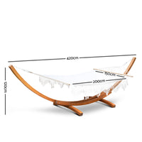 Ava - Tasseled Double Hammock with Wooden Stand - measurements