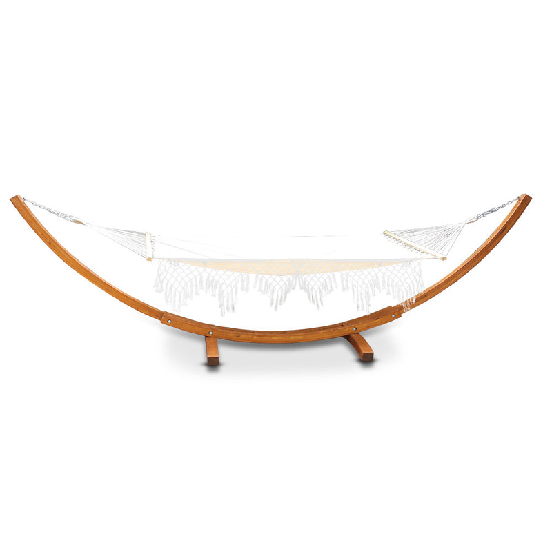 Ava - Tasseled Double Hammock with Wooden Stand -side view